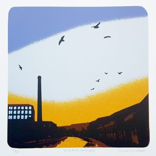 'Early Birds, Slaithwaite' screen print by Dan Booth