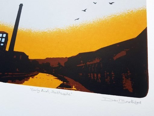 'Early Birds, Slaithwaite' screen print by Dan Booth - signature