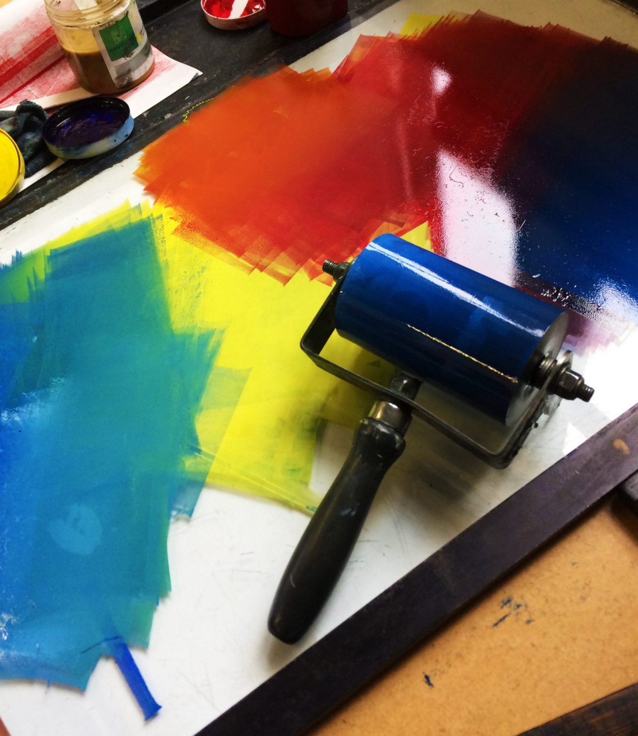 A roller with various coloured inks