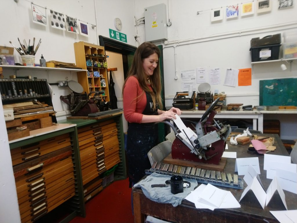 Testing letterpress type