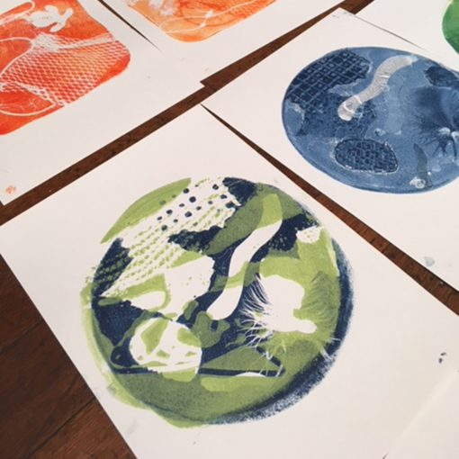 A selection of prints made from Gelli plates