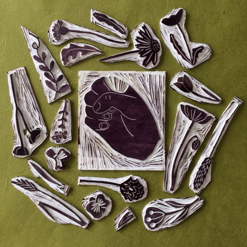 Selection of carved lino stamps