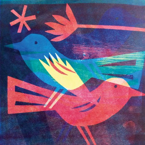 Monoprinting birds with CMYK colours