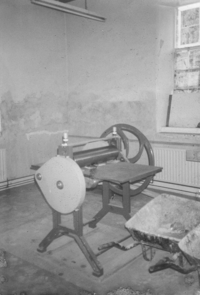 Etching press, print room, 1980s.