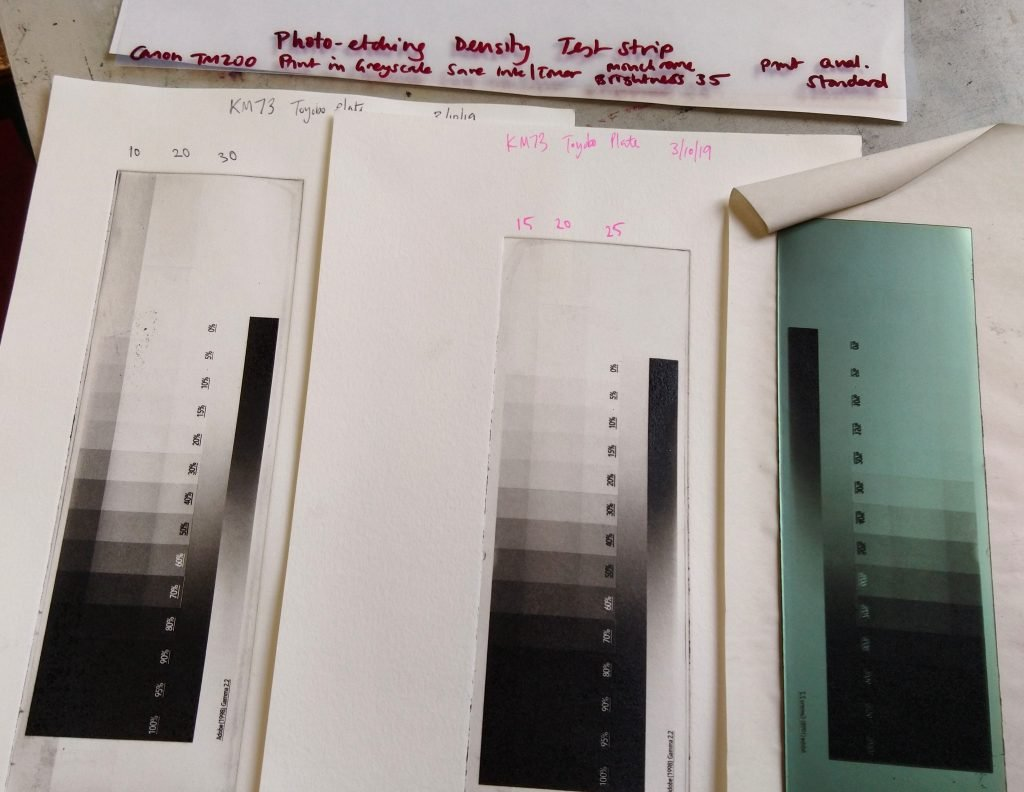 Density test strips for Solar Plate/ Photo Etching