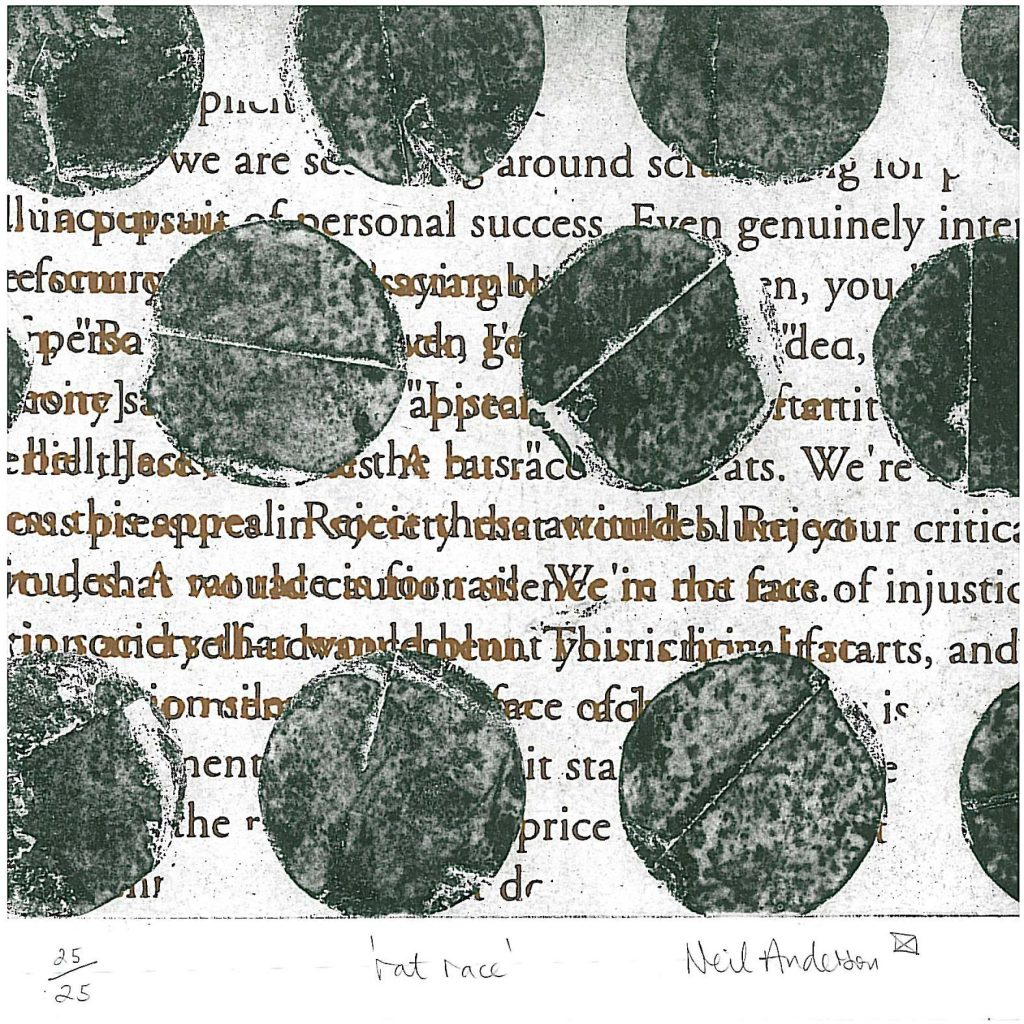 Abstract print, monochrome circles on top of printed text.