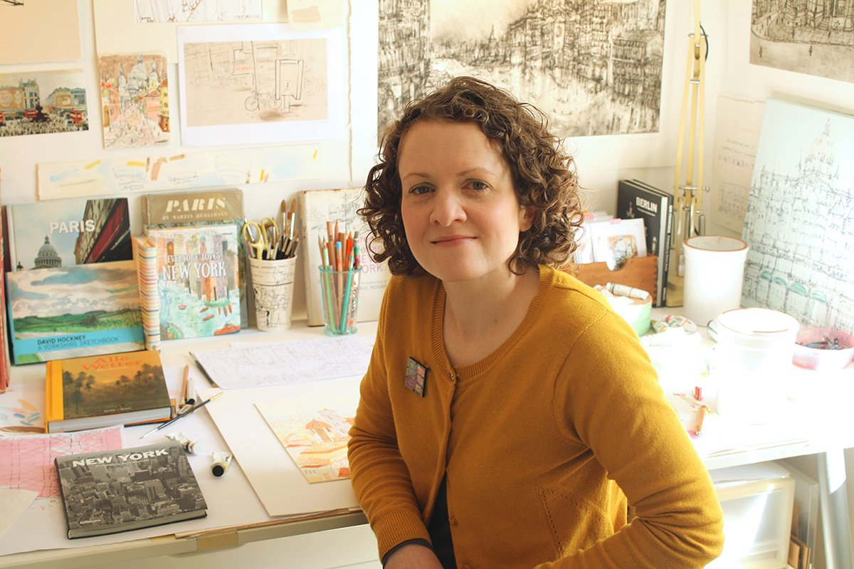 Artist Clare Caulfield in her studio