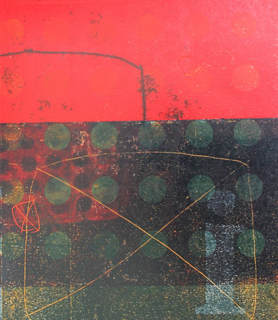 Abstract screen print, red, black and yellow