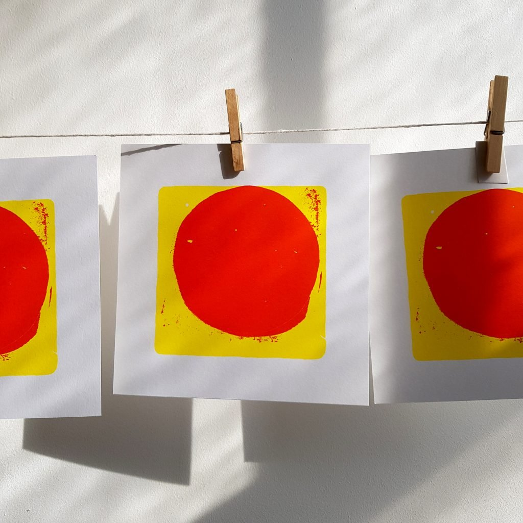 Screen Print, abstract, red circle and yellow square.