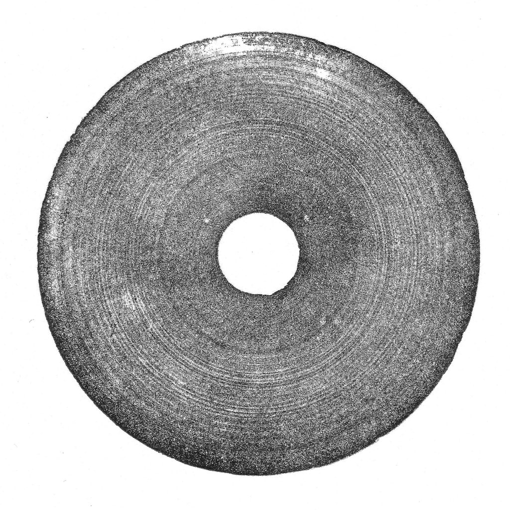 Monochrome screen print of a grinding stone