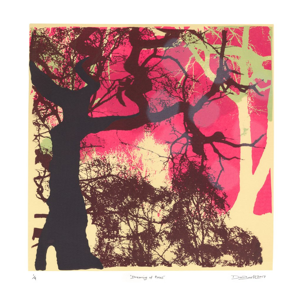Screen Print, tree silouettes. Black, brown, cream and pink