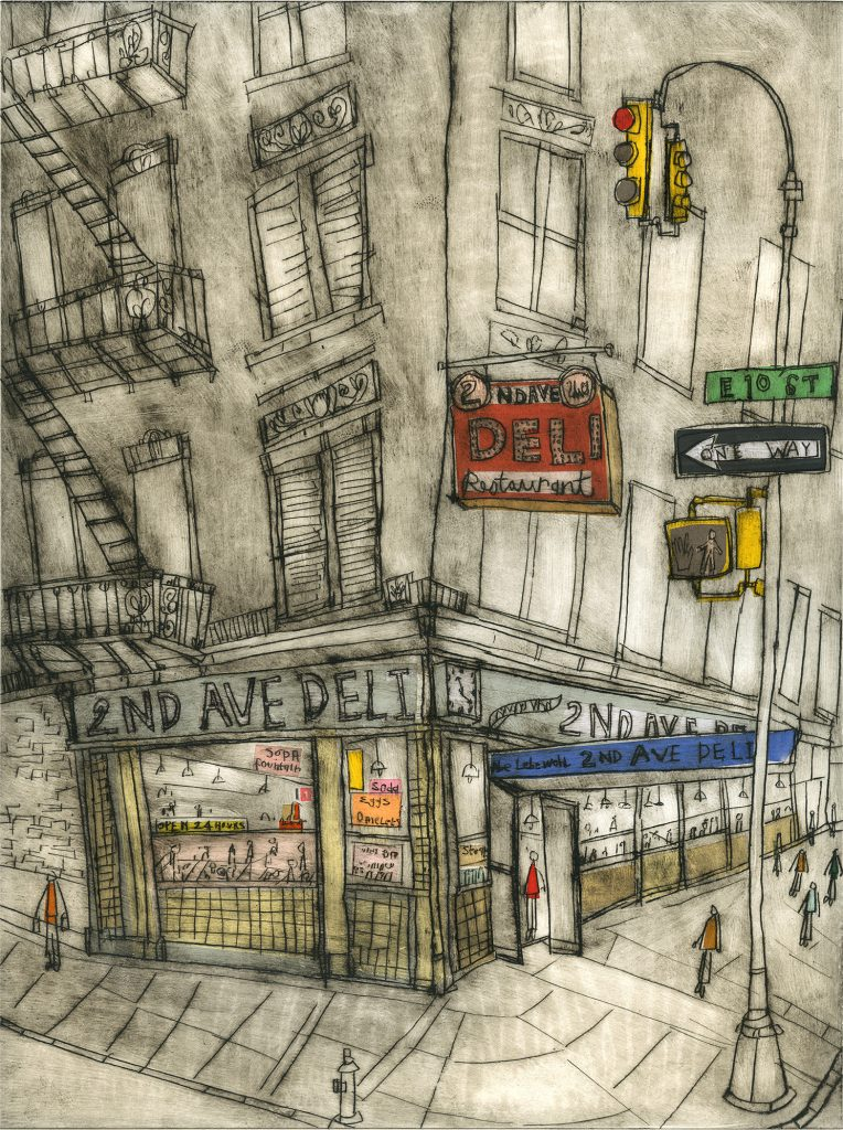 Screen printed illustration of 2nd Avenue Deli, New York City