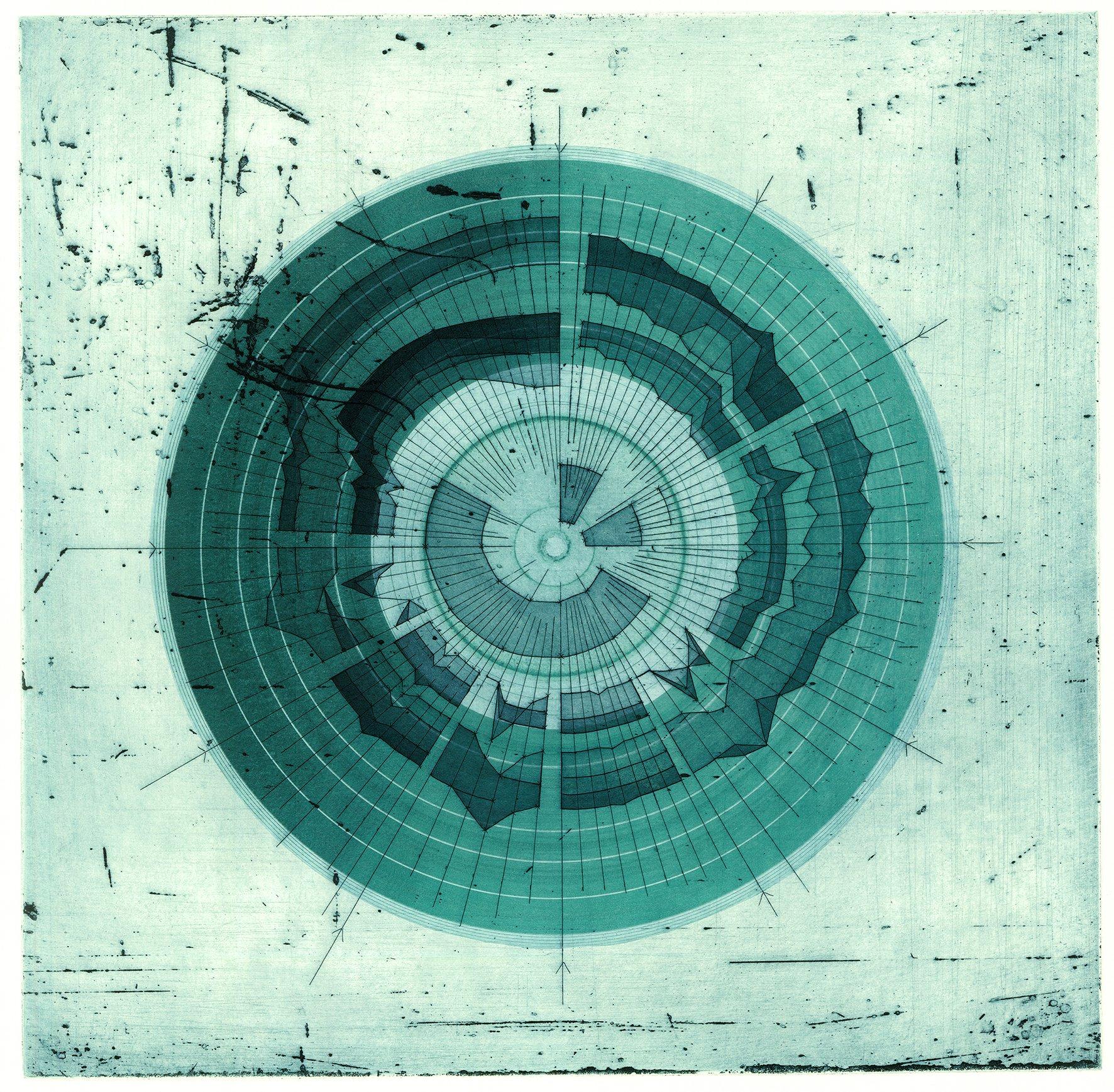 Liz K Miller, vinyl etching, turquoise