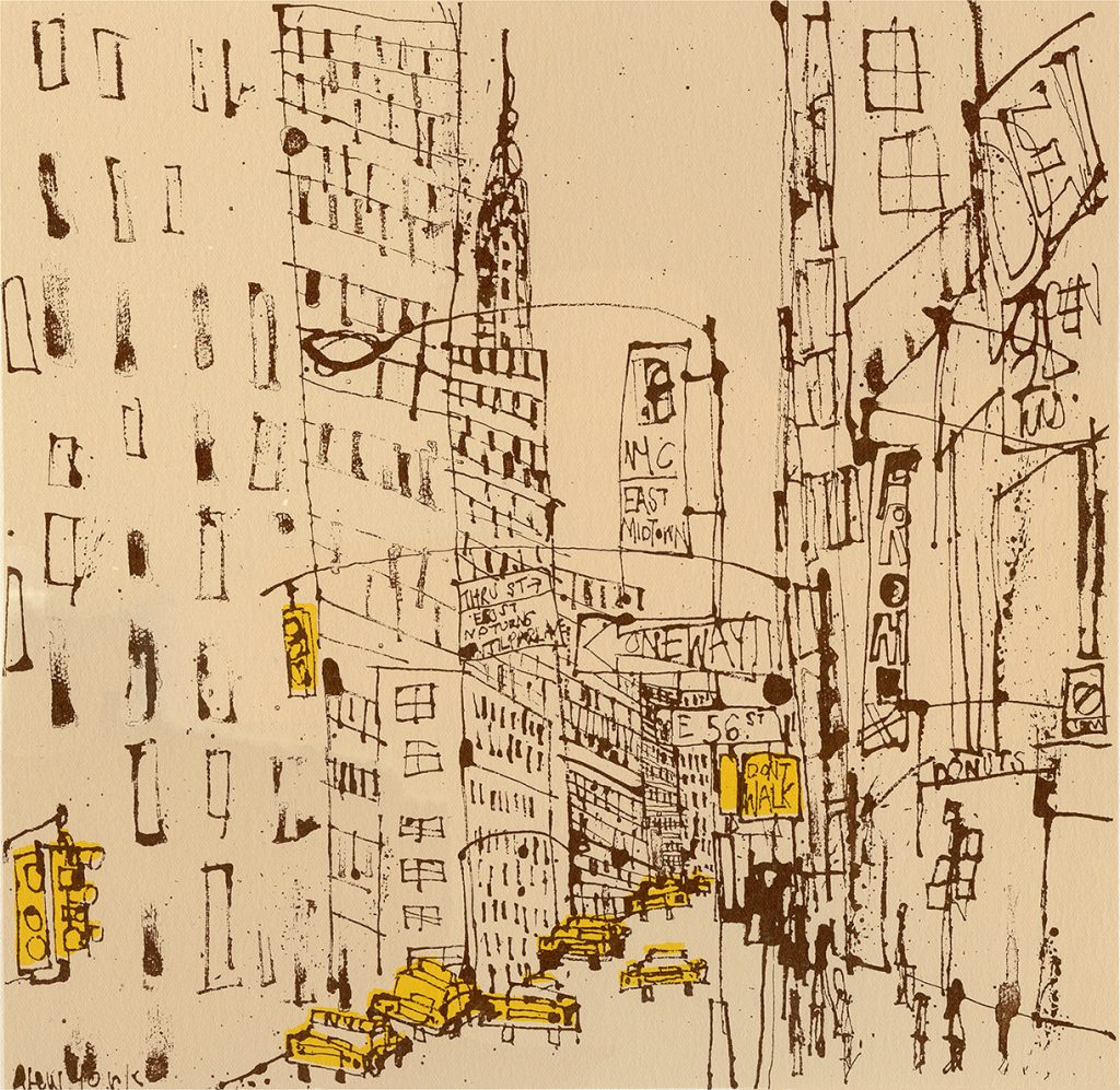 Screen printed illustration of East 56th Street, New York City