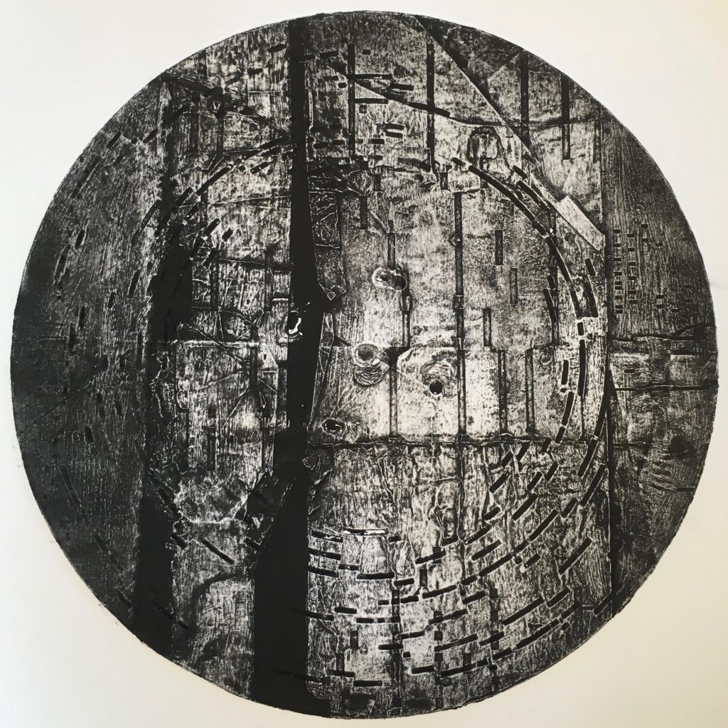Collagraph using a musical box disc, on paper