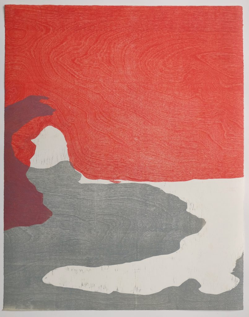Woodcut print, Red and Grey abstract.