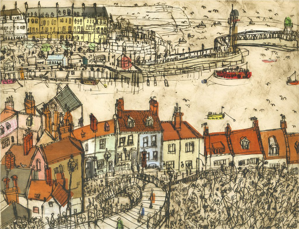Screen printed illustration of Whitby rooftops