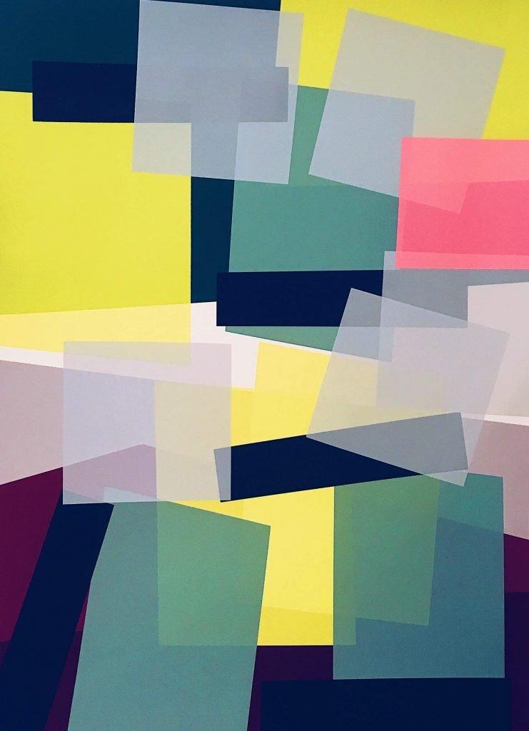 Multi-coloured screen print on paper