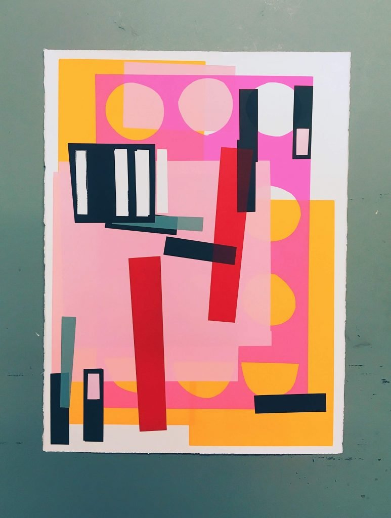 Multi-coloured screen print on paper