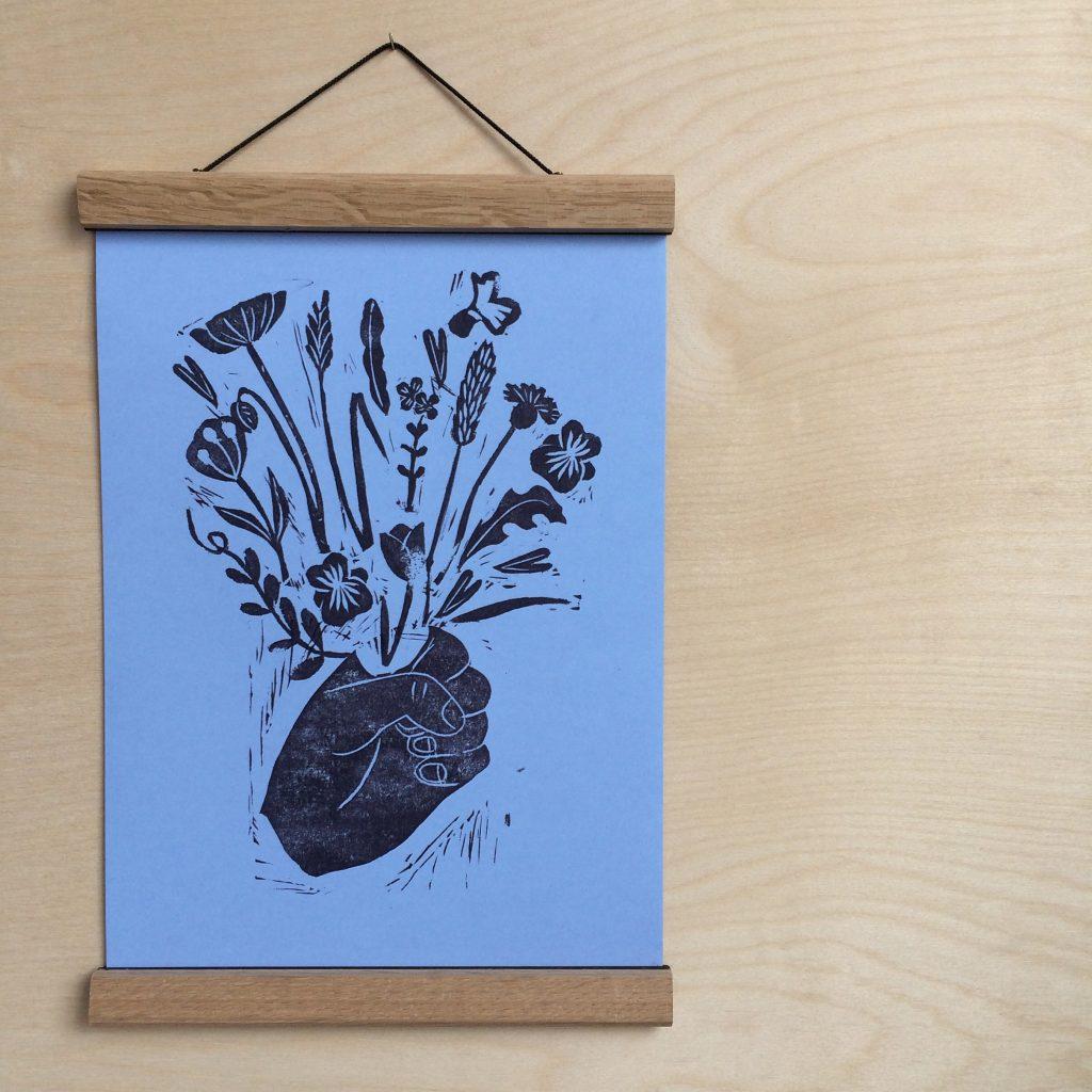 Linoprint on paper, Posy