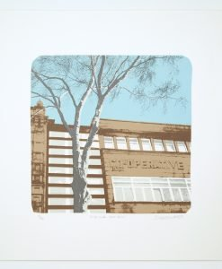 'Co-op with Sliver Birch' screen print by Dan Booth