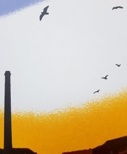'Early Birds, Slaithwaite' screen print by Dan Booth - close up