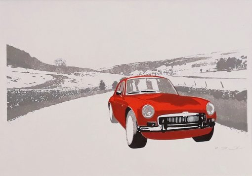 Illustrated scene of a car, Colour screen print on paper