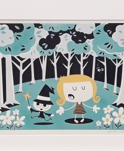Colour screen print of Lizzie and witch