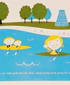 Illustrated scene of rowing boats, Colour screen print on paper