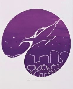 Flying rocket, single colour screen print on paper