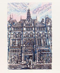 Kirkgate Market 4/10, Woodcut by Adrian Sestini
