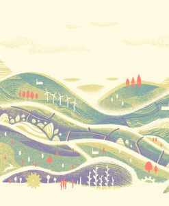 Graham Pilling, These Flowing Hills of Plenty, Screen print