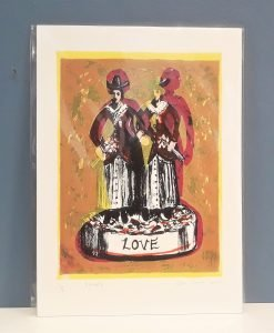 'Sisters (Love)' colour screen print of sisters by Clare Grace