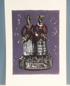 Sisters by Clare Grace, Colour Screen print of two sisters