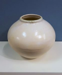Moon jar 4, white by Dave Helm, Ceramic jar, 20cm high.