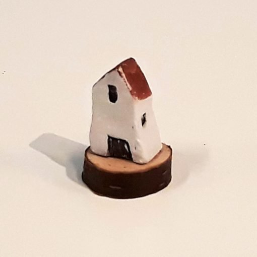 Tiny House 30 by Dave Helm, hand painted ceramic house