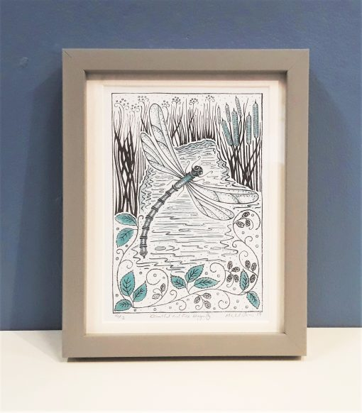 'Beautiful and free Dragonfly' colour linocut print by Lindy and Bea