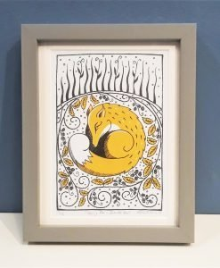 'Sleeping Fox in Bramble Bed' colour linocut print by Lindy and Bea