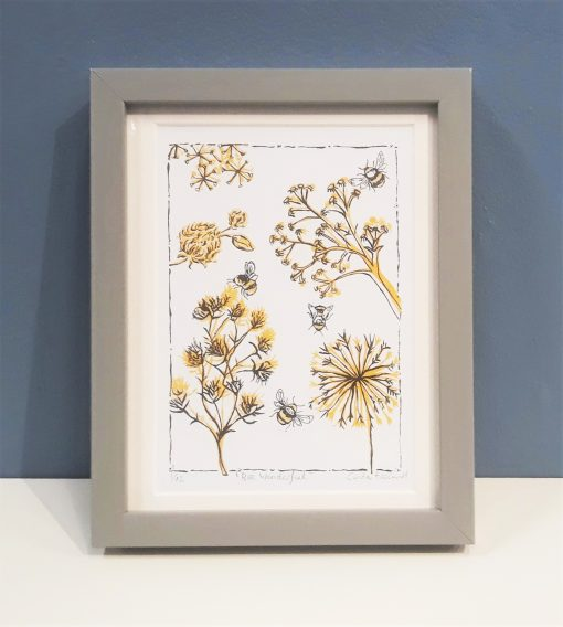 'Bee Wonderful' colour linocut print by Lindy and Bea