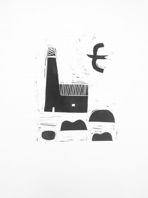Lino print of Light House