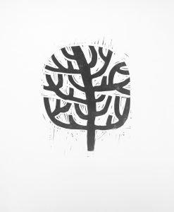 Lino print of Wonky Tree
