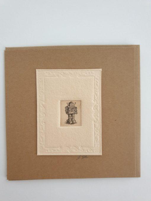 Original etching robot card by Gillian Tyler