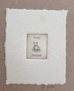Original etching birthday bear card by Gillian Tyler
