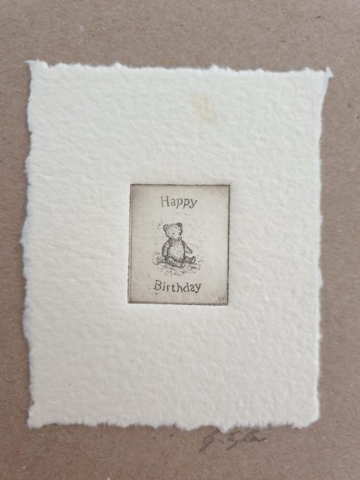 Original etching birthday bear card by Gillian Tyler