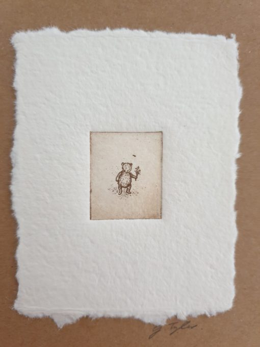 Original etching bear with flower card by Gillian Tyler