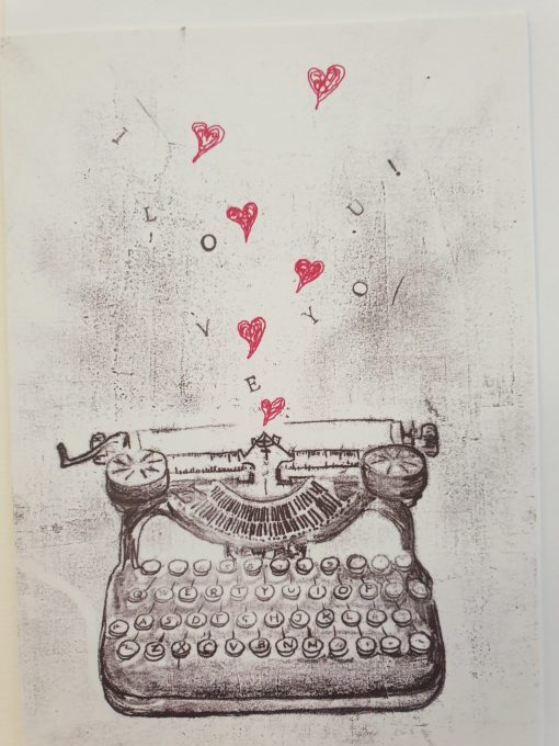 I love you typewrite card by Rach Red Designs
