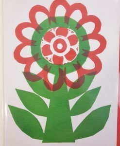 Red and green flower card by Sam Groom