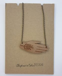 Wooden hand necklace by Stephanie Cole Designs