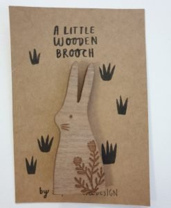 A little wooden rabbit brooch by Stephanie Cole Designs