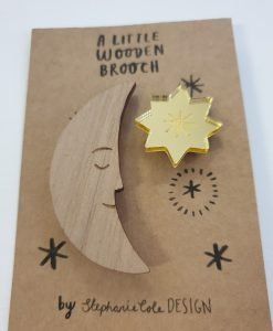 Moon and star brooch set by Stephanie Cole Designs
